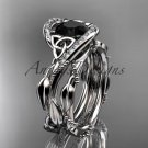 14kt white gold celtic trinity knot engagement set with Black Diamond center stone CT764S