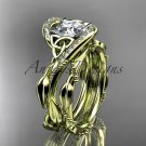 """14k yellow gold celtic trinity knot engagement set with """"Forever One"""" Moissanite center stone CT764S"""