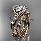"""14kt rose gold celtic trinity knot engagement set with """"Forever One"""" Moissanite center stone CT764S"""