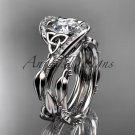 14kt white gold celtic trinity knot engagement set, wedding ring CT764S