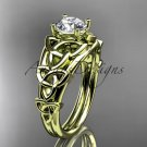 14kt yellow gold celtic trinity knot engagement ring with a Moissanite center stone CT765