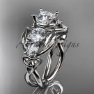 Platinum  celtic trinity knot engagement ring with Moissanite center stone CT769