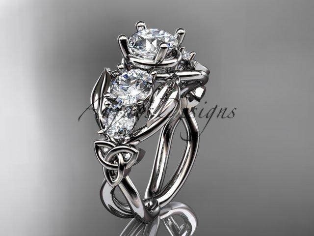 Platinum  celtic trinity knot engagement ring , wedding ring CT769