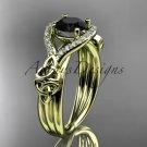 14kt yellow gold celtic trinity knot diamond wedding ring with Black Diamond center stone CT785