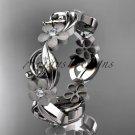 Platinum diamond flower wedding ring, engagement ring, wedding band ADLR191
