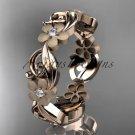 14kt rose gold diamond flower wedding ring, engagement ring, wedding band ADLR191