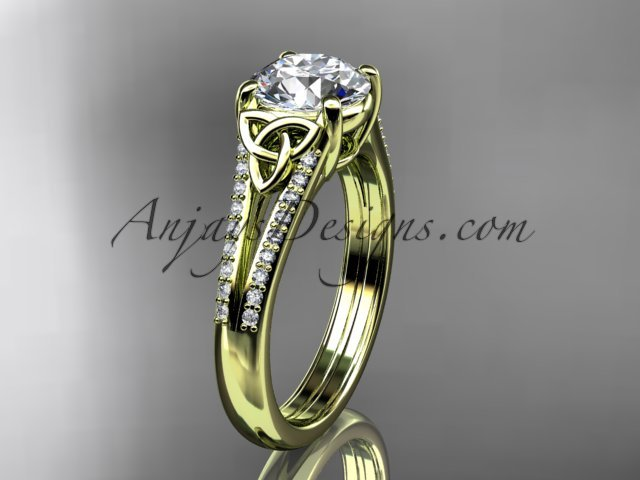 14kt yellow gold celtic trinity knot engagement ring ,diamond wedding ring CT7108