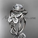 14kt white gold diamond celtic trinity knot wedding ring,butterfly engagement ring CT7136
