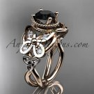 14kt rose gold celtic trinity knot wedding ring,butterfly engagement ring, Black Diamond CT7136