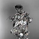 Platinum  diamond leaf and vine engagement set with a Black Diamond center stone ADLR20S