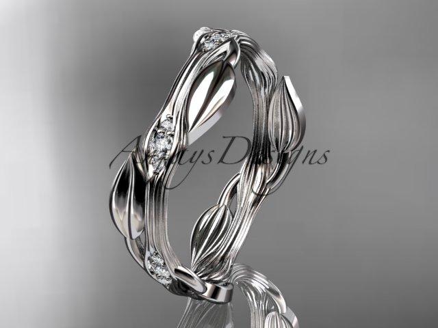 14k white gold diamond leaf and vine wedding ring engagement ring ADLR31B