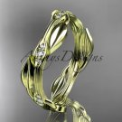 14k yellow gold diamond leaf and vine wedding ring engagement ring ADLR31B