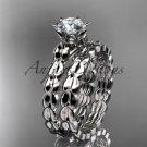 Platinum  diamond vine and leaf engagement set with a Moissanite center stone ADLR35