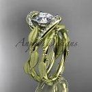 14kt yellow gold diamond leaf and vine wedding ring, engagement set ADLR64S