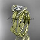 14kt yellow gold diamond leaf and vine engagement set with a Moissanite center stone ADLR64S