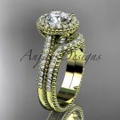 14kt yellow gold diamond floral  engagement ring with a  Moissanite center stone ADLR101S