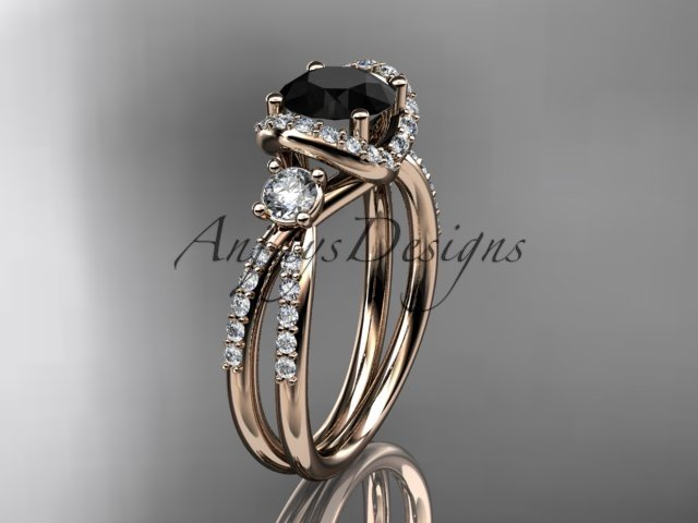 14kt rose gold diamond unique engagement ring with a Black Diamond center stone ADER146