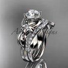 Unique 14k white gold diamond flower, leaf and vine wedding ring, engagement set ADLR224S