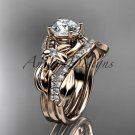 Unique 14k rose gold diamond flower, leaf and vine wedding ring, engagement set ADLR224S