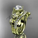 Unique 14k yellow gold diamond flower, leaf and vine wedding ring, engagement set ADLR224S