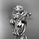 Platinum  diamond leaf and vine engagement set with a Moissanite center stone ADLR224s