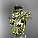 14k yellow gold diamond leaf and vine engagement set with a Black Diamond center stone ADLR224S