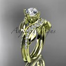 14k yellow gold diamond leaf wedding ring, engagement set with a Moissanite center stone ADLR225S