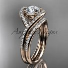 14kt rose gold diamond wedding ring, engagement set with a Moissanite center stone ADLR383S