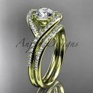 14kt yellow gold diamond wedding ring, engagement set with a Moissanite center stone ADLR383S