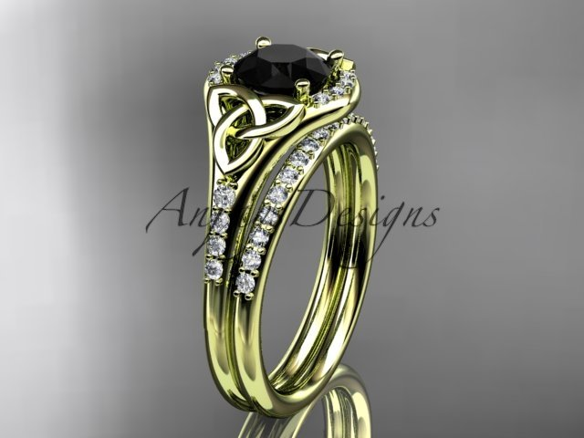 14k yellow gold diamond celtic trinity knot engagement set with a Black Diamond center stone CT7126S