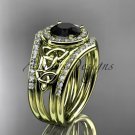 14k yellow gold diamond celtic trinity knot engagement set with a Black Diamond center stone CT7131S