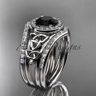 Platinum  diamond celtic trinity knot engagement set with a Black Diamond center stone CT7131S