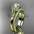 14kt yellow gold diamond celtic trinity knot engagement set with a Moissanite center stone CT7154S