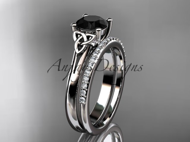 Platinum  diamond celtic trinity knot engagement set with a Black Diamond center stone CT7154S