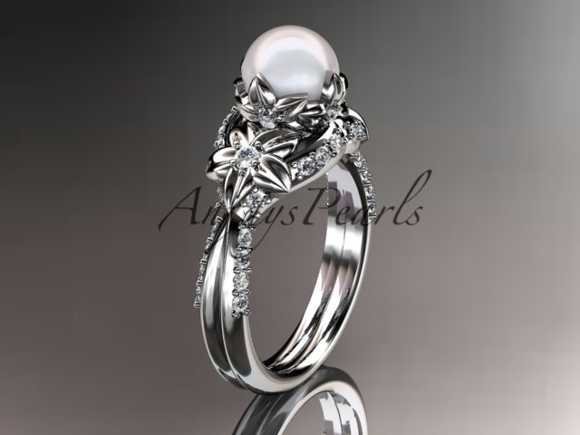 14kt white gold diamond pearl unique engagement ring, wedding ring AP220