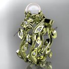 14kt yellow gold diamond pearl unique engagement set, wedding set AP151S