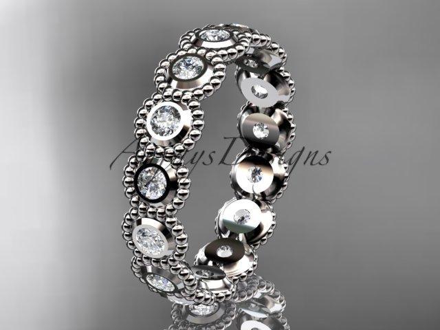 14k white gold white sapphire flower wedding ring, engagement ring, wedding band ADLR345