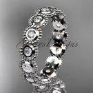 Platinum white sapphire flower wedding ring, engagement ring, wedding band ADLR345