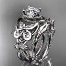 14kt white gold diamond butterfly engagement set with a Moissanite center stone ADLR136