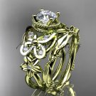 14kt yellow gold diamond butterfly engagement set with a Moissanite center stone ADLR136
