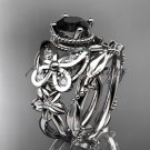 14kt white gold diamond floral, butterfly engagement set with a Black Diamond center stone ADLR136S