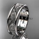 14kt white gold leaf engagement ring, wedding band ADLR414G