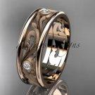 14kt rose gold diamond engagement ring, wedding band ADLR414BB