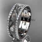 Platinum  diamond engagement ring, wedding band ADLR414BA