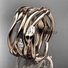 14kt rose gold leaf and vine wedding ring, wedding band ADLR351B