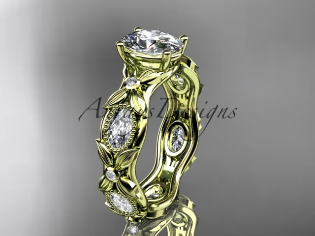 14kt yellow gold diamond leaf and vine engagement ring with a Moissanite center stone ADLR152