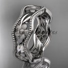 platinum  flower wedding ring,engagement ring, wedding band. ADLR190G