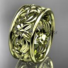 14kt yellow gold leaf and vine wedding band, engagement ring ADLR150G