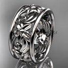 platinum  leaf and vine wedding band, engagement ring ADLR150G