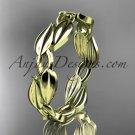 14k yellow gold diamond leaf and vine wedding ring,engagement band ADLR58B